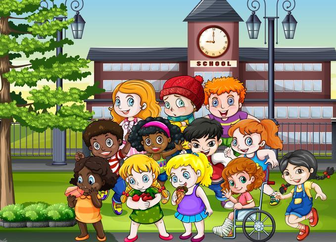 Etudiants dans la cour d'école