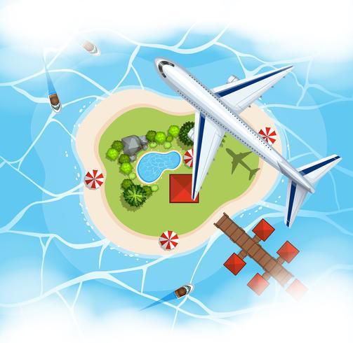 Scena aerea con l'aeroplano che sorvola isola