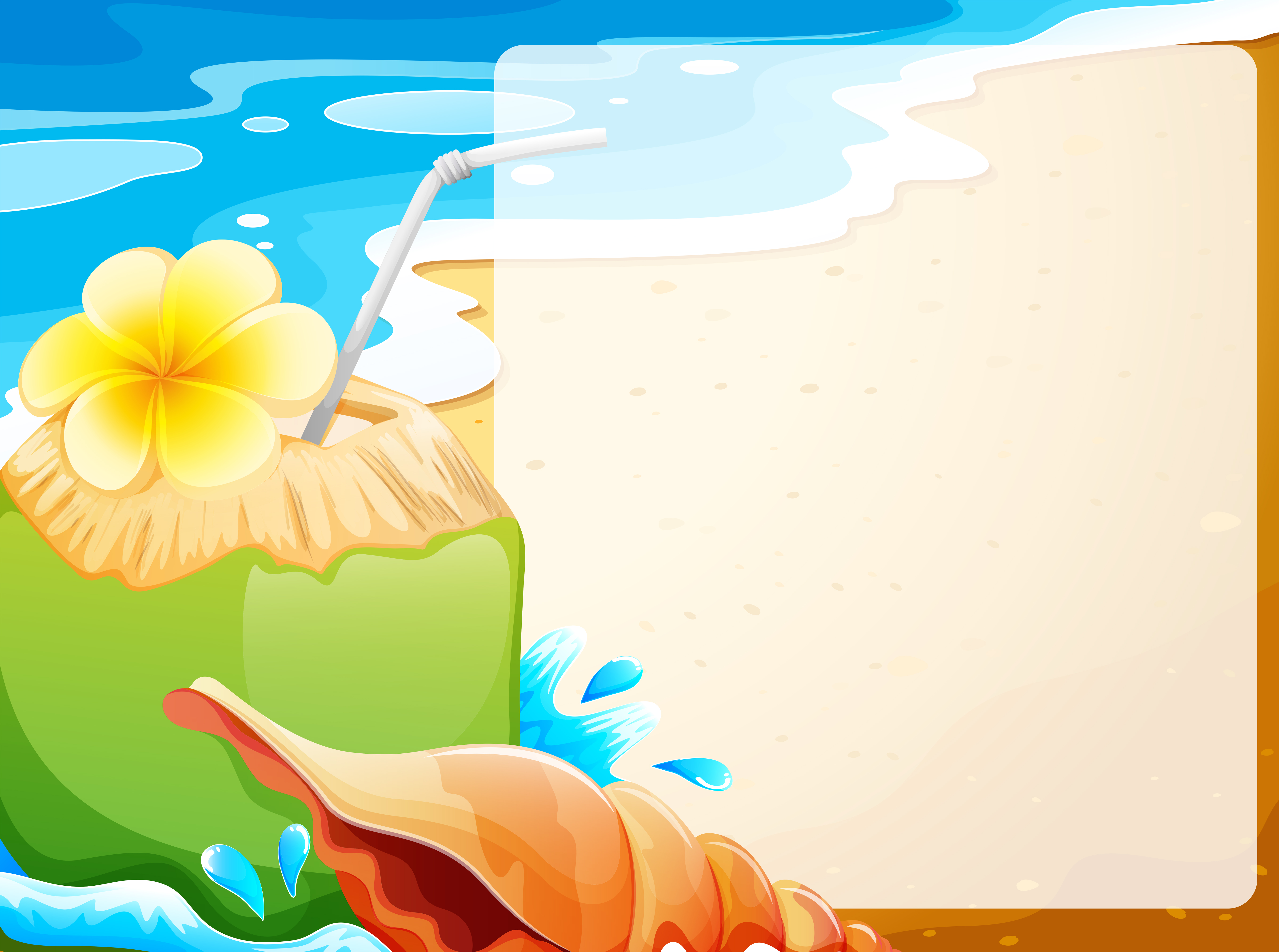 Blank border with coconut juice on beach background ...