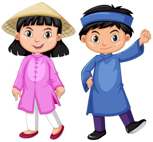 Ragazzo e ragazza del Vietnam in attrezzatura di tradizione