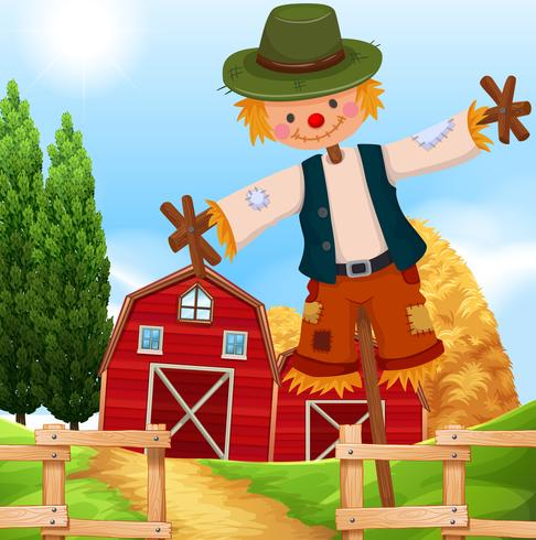 Farm scene with barn and scarecrow