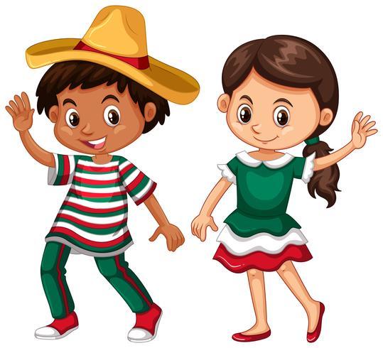 Mexicano menino e menina acenando