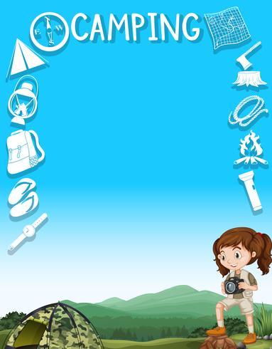 Design de fronteira com menina e ferramentas de campismo