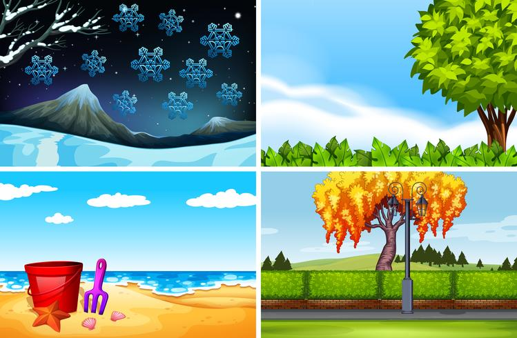Four scenes of different seasons - Download Free Vectors, Clipart ...