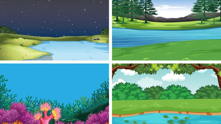 Set di diverse scene d'acqua