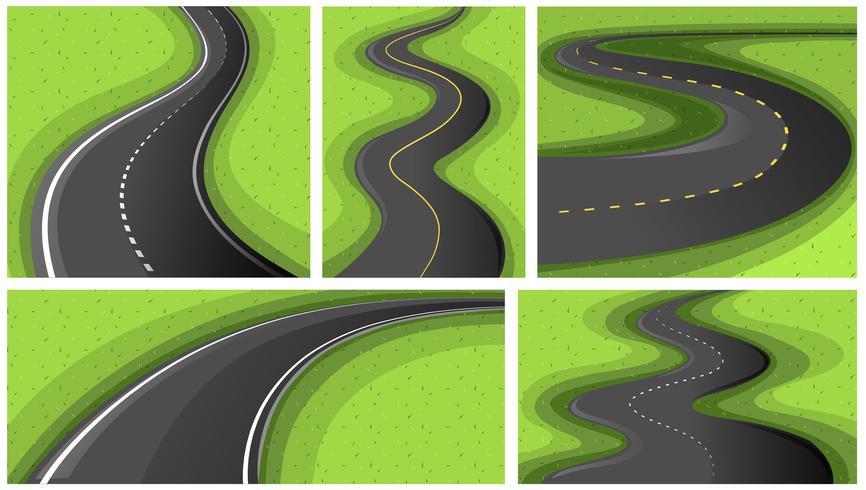Scènes avec différentes formes de routes
