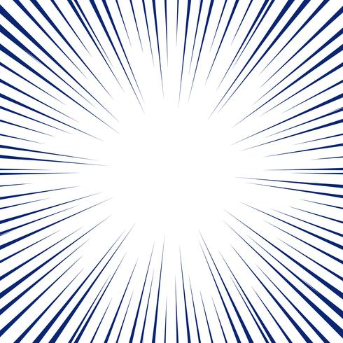 Blue radial lines for comic book background. Manga speed frame. vector