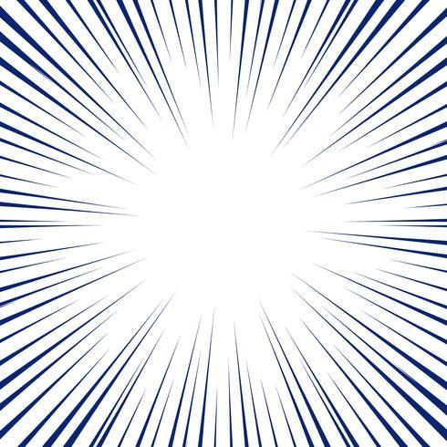 Líneas radiales azules para el fondo del cómic. Marco de velocidad de manga.