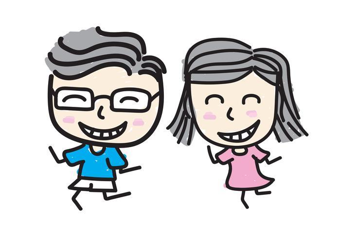 Garçon et fille sourient En amour., Style de dessin d'enfant.