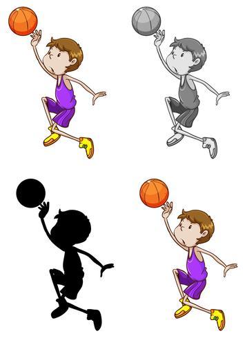Uppsättning basketidrottare