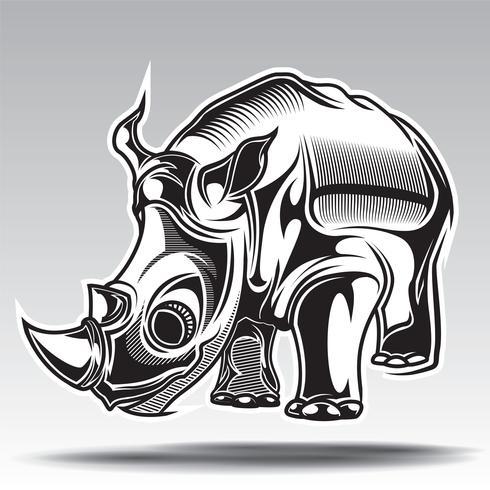 hand getekende illustratie van neushoorn met decoratieve elementen.
