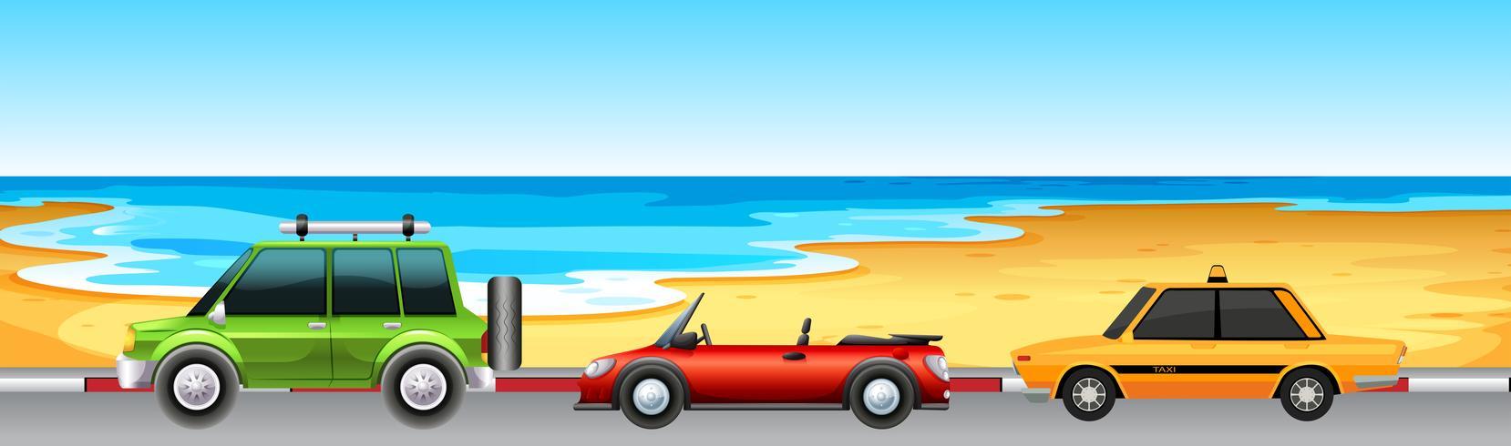 Drei Autos parken am Strand vektor