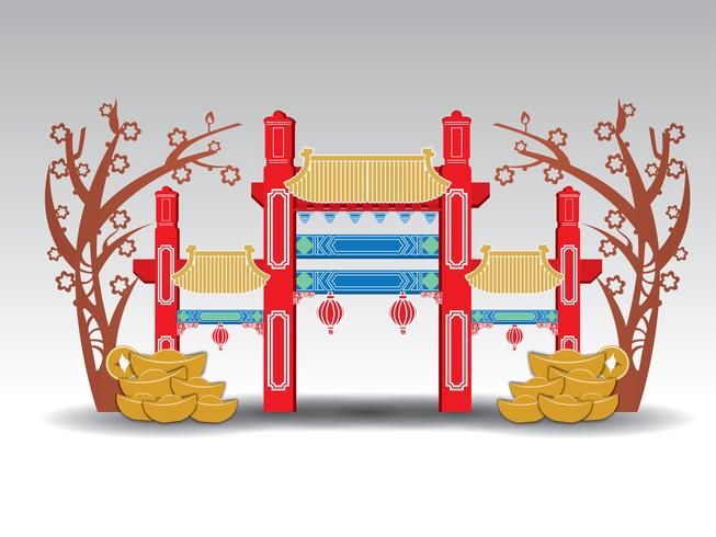 Arco del pabellón chino, oro, dinero.