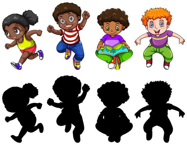 Conjunto de caracteres de niños gorditos.