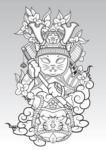 Cat Samurai på colud och Sakura blossom., Japansk tatueringsstil.