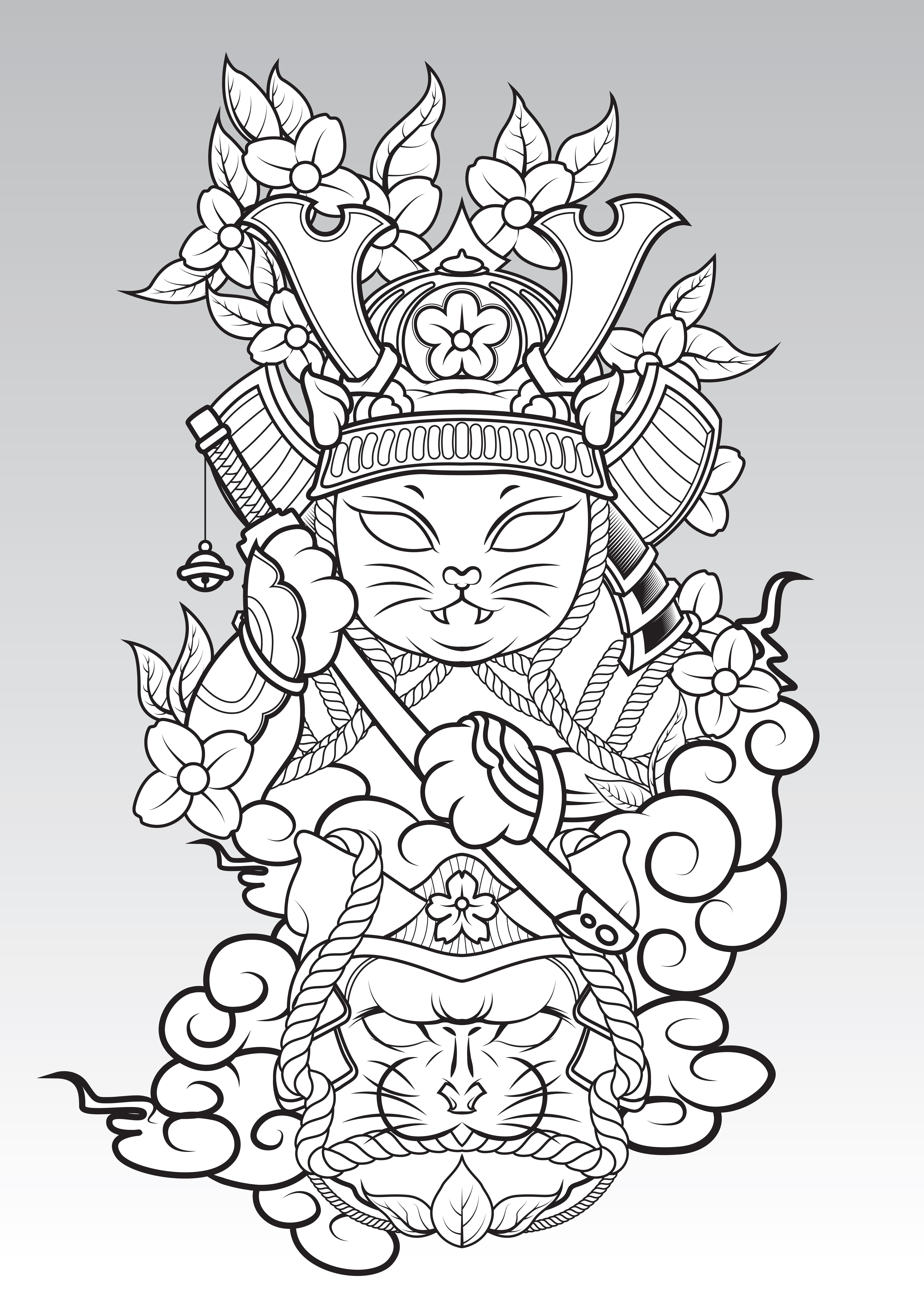 Cat Samurai On Colud And Sakura Blossom., Japanese Tattoo