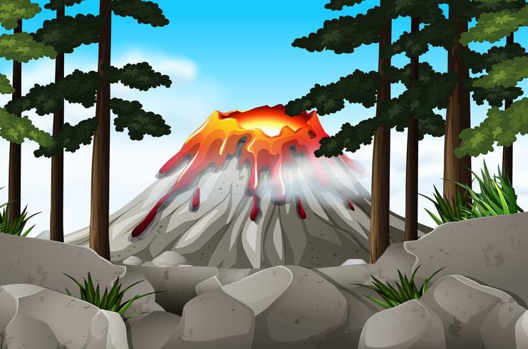 Naturscen med vulkan och skog