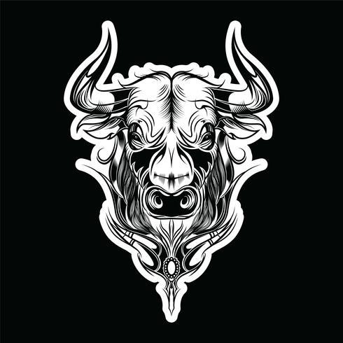 Bull, taureau peint ornement ethnique tribal. Illustration vectorielle vecteur