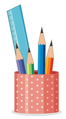 Lápis e régua no suporte