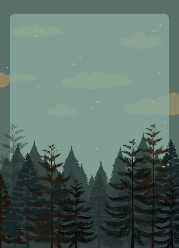 Escena del bosque de pinos en la noche