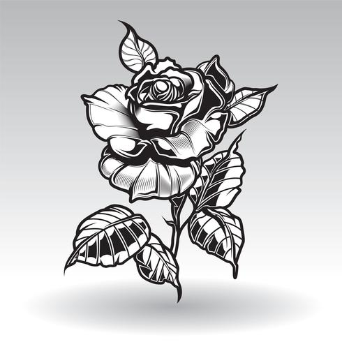 tatuaggio vettoriale rose con foglie su sfondo bianco