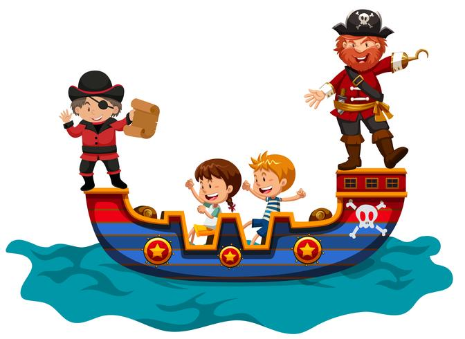 Barn som rider på vikingafartyg