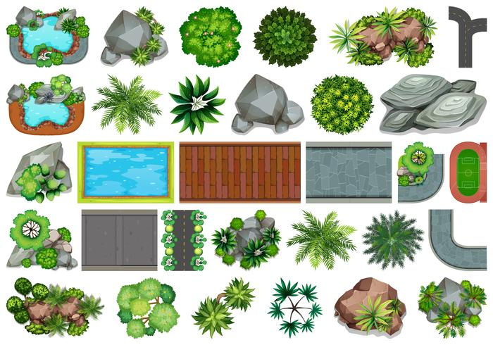 Conjunto de jardín para decoración.