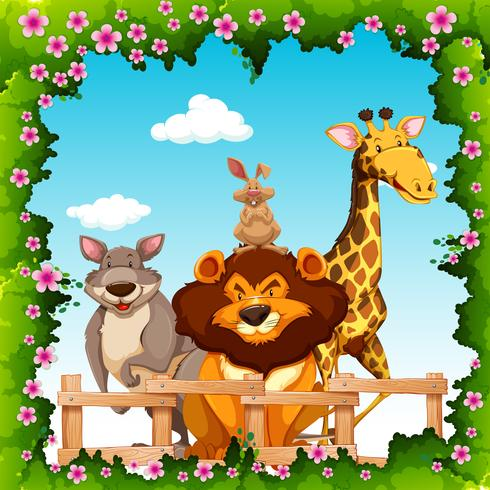 Wilde Tiere hinter dem Zaun