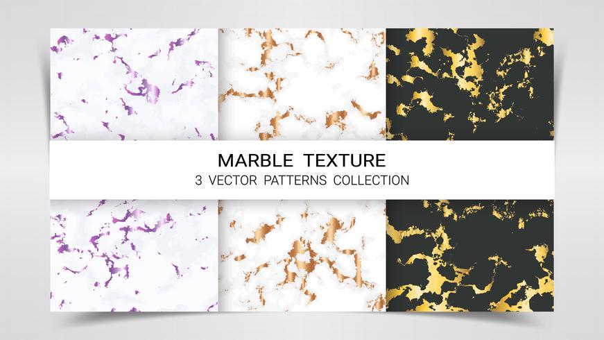 Marmeren textuur, premium set van vector patronen collectie.