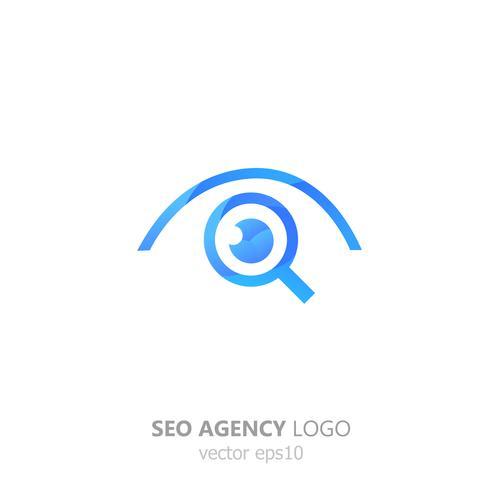 Logo de la agencia seo. Lupa con engranaje. Búsqueda y configuración. Vector gradiente ilustración plana