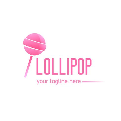 Pink logo with a lollipop. Candy on a stick. Sweet shop. Vector flat gradient illustration
