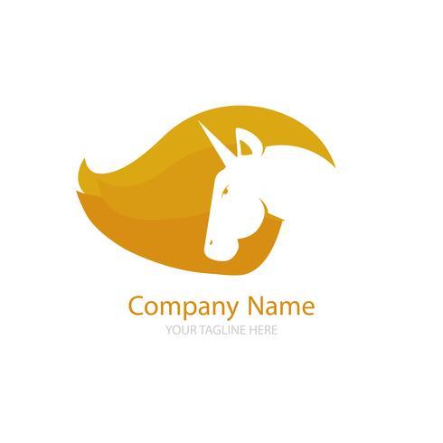 Logo avec une licorne pour votre entreprise. Icône Pegasus. Gradient vector illustration ligne plate.