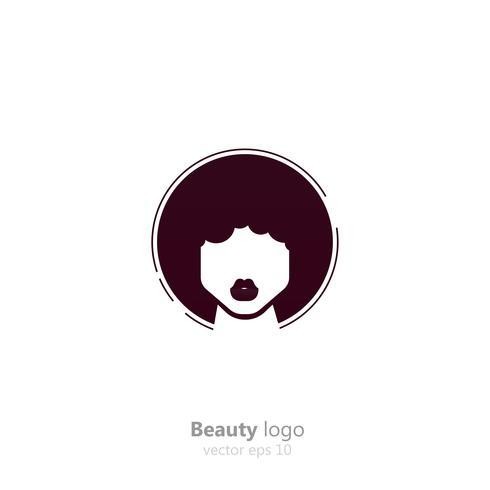 Salon-logo. Voor vrouwen met een donkere huid. Afro-kapsels schoonheid logo. Platte vectorillustratie