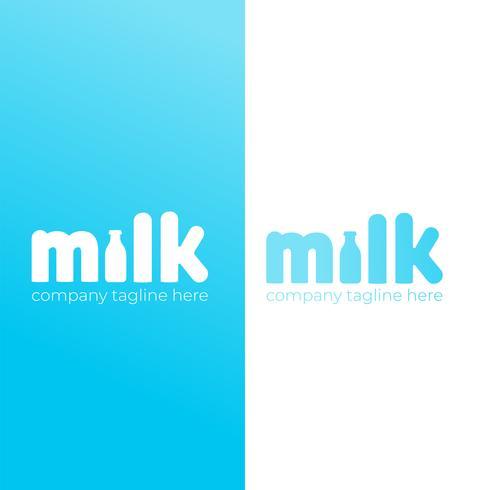 Un semplice logo carino per il marchio del latte di vacca. Icona piana di vettore