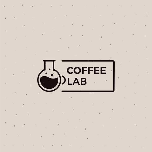 Koffie lab old school logo. Beker met een zwarte illustratie van de energiedrank. Vector platte banner