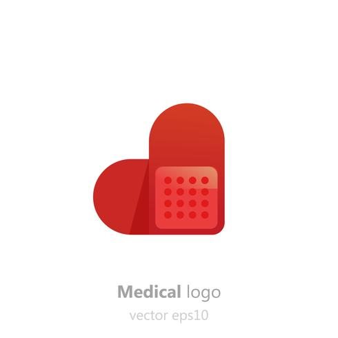Logo di Concept Medical. Patchin adesivo a forma di cuore. Logotipo per clinica, ospedale o medico. Vector gradiente piatta illustrazione