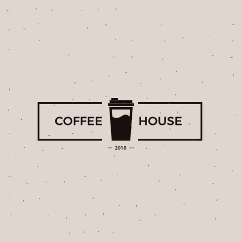 Koffiehuis old school logo. Beker met een zwarte illustratie van de energiedrank.