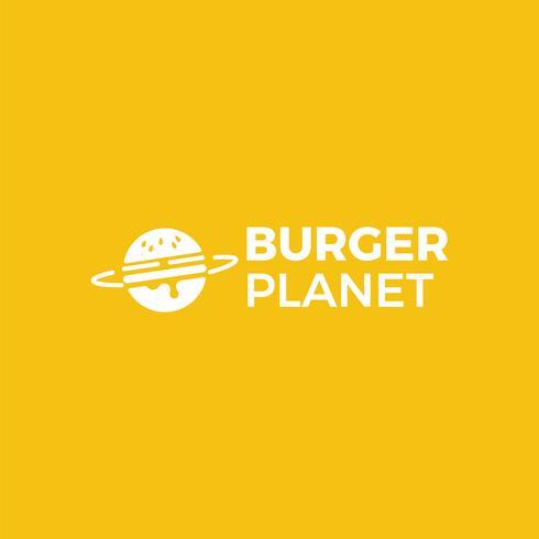 Logotipo do serviço de entrega de hambúrguer planeta. Ilustração vetorial vetor