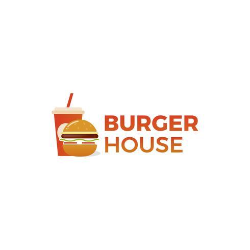 Amerikansk klassiker för hamburgarehus. Logotyp för restaurang eller café eller snabbmat. Vektorillustration