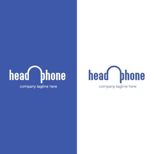 Logo met koptelefoon. Liefde voor muziek in hoofdtelefoon. Radio online vector verloop logo