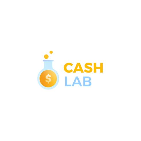 Cash lab logo. A laboratory makes money. A test tube with a dollar coin.