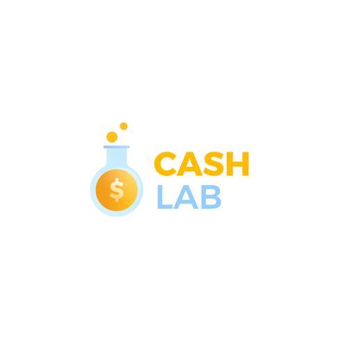 Logotipo del laboratorio de caja. Un laboratorio hace dinero. Un tubo de ensayo con una moneda de dólar. vector