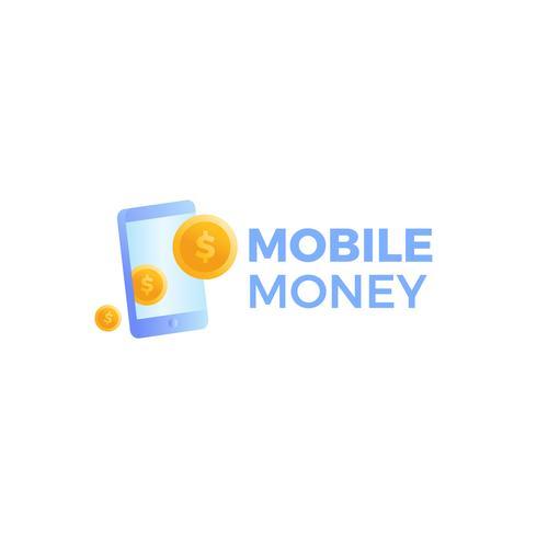 Logotipo de pago de dinero móvil. Un teléfono con monedas de oro en dólares. vector