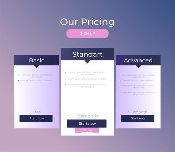 Ons prijsplan. Drie verschillende categorieën geldprijzen. Kies premium. Vector plat verloop ontwerp