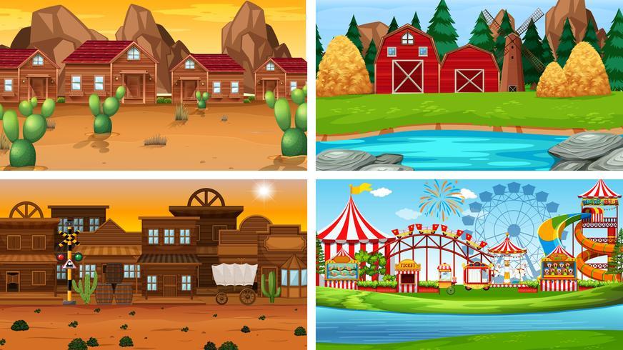Conjunto de diferentes paisajes