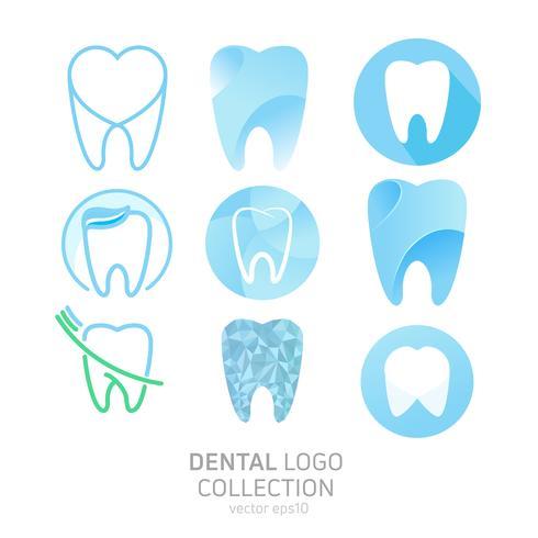 Set van tandheelkundige kliniek logo. Geneest tanden pictogram. Tandarts kantoor. Vector platte illustraton