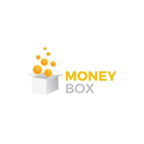 Money box logo. Prize gift with dollar coins illustration. Vector