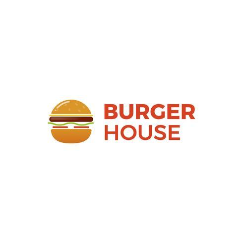 Amerikansk klassiker för hamburgarehus. Logotyp för restaurang eller café eller snabbmat. Vektorillustration vektor