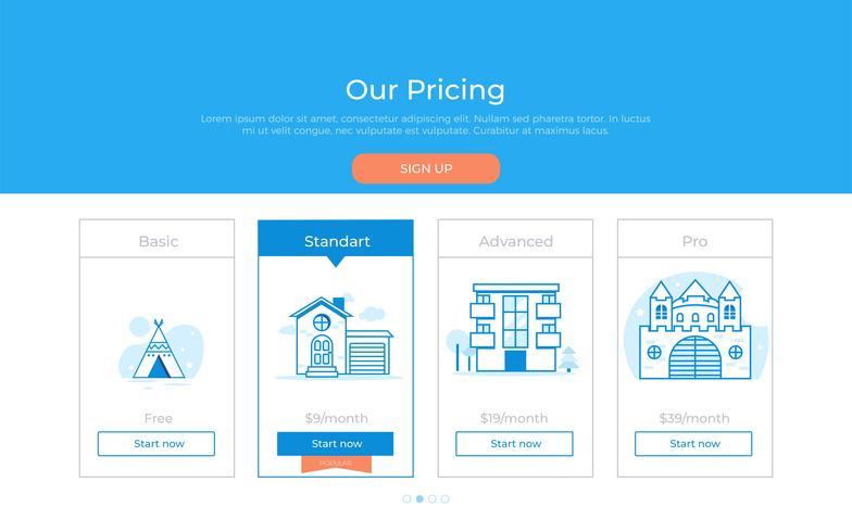 Ons prijsplan. Verschillende categorieën geldprijzen. Kies premium. Vector plat verloop ontwerp