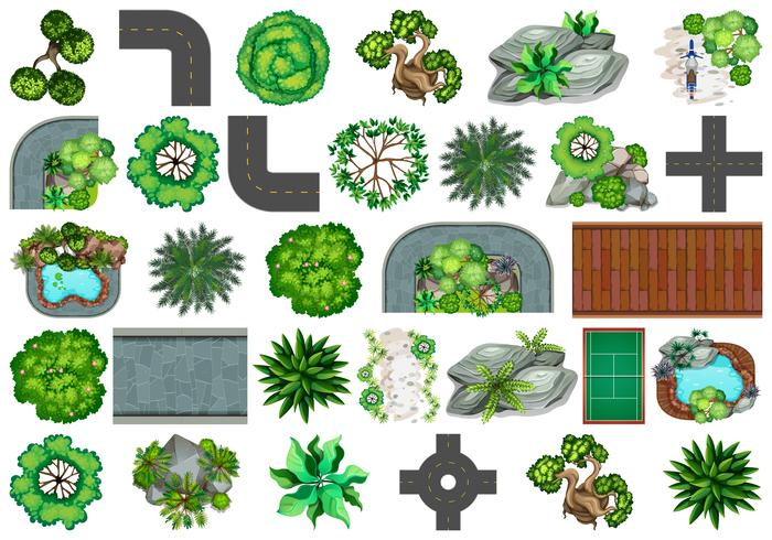Set of plant for decoration vector